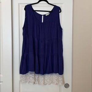 Super Cute! Blue Babydoll dress with lace bottom.